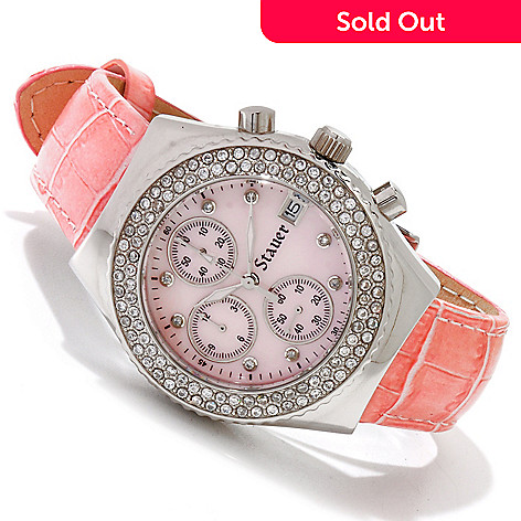 614-553 - Stauer Women's Fontus Quartz Chronograph Mother-of-Pearl Strap Watch