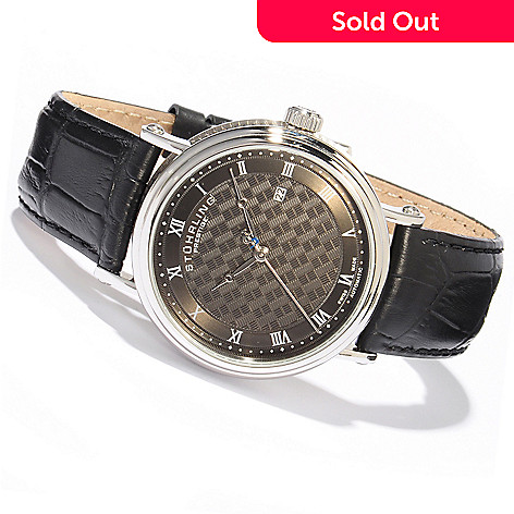 614-557 - Stührling Prestige Men's Tradition Swiss Made Automatic Leather Strap Watch