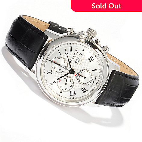 614-565 - Stührling Prestige Men's Accolade Swiss Made Automatic Valjoux 7750 Chronograph Strap Watch