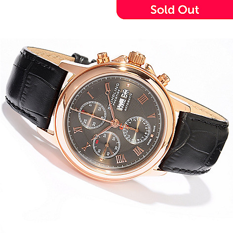 614-566 - Stührling Prestige Men's Accolade Swiss Made Automatic Valjoux 7750 Chronograph Strap Watch