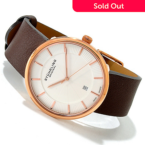 614-571 - Stührling Original Men's Fairmont Slim Quartz Stainless Steel Case Leather Strap Watch