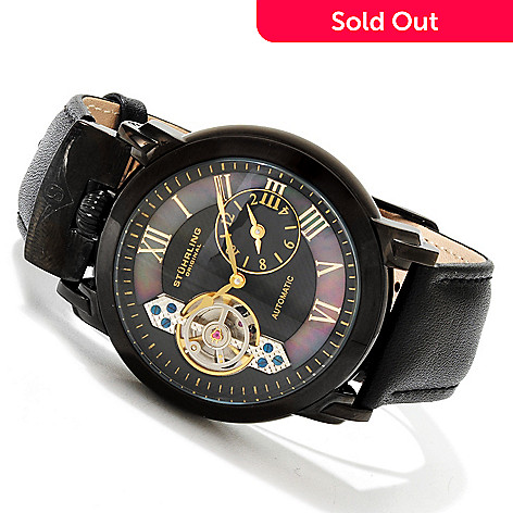 614-589 - Stührling Original Men's Braveheart Automatic Open Heart Stainless Steel  Leather Strap Watch