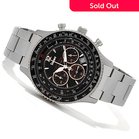 614-619 - Stauer Men's Titanium Midnight Flyboy 1916 Quartz Chronograph Bracelet Watch