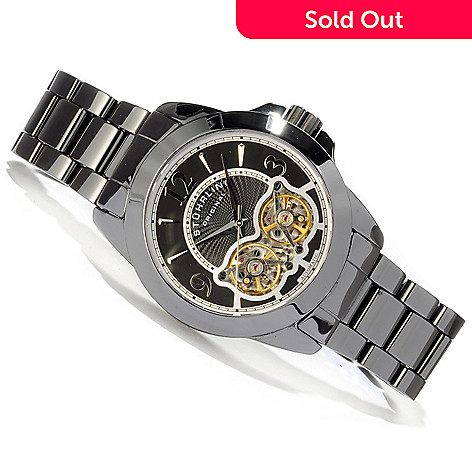 614-630 - Stuhrling Original Men's Ceramic Shadow Double Balance Wheel Bracelet Watch