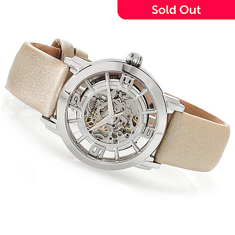 614-632 - Stuhrling Original Women's Winchester Automatic Skeletonized Dial Strap Watch