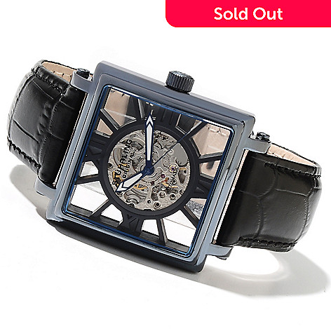 614-639 - Stührling Original Men's Winchester Illusion Automatic Skeletonized Dial Leather Strap Watch