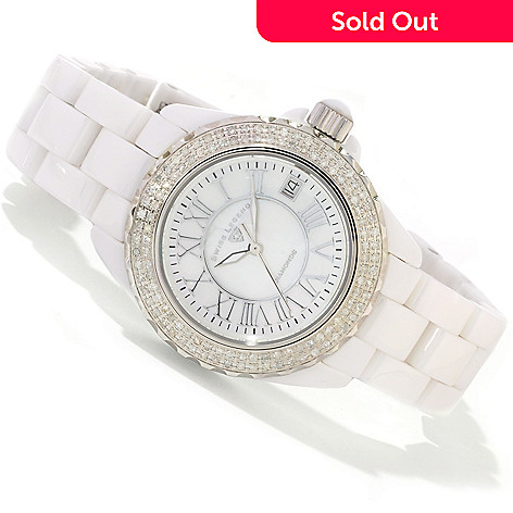 614-866 - Swiss Legend Women's Karamica Diamond Swiss Quartz Bracelet Watch
