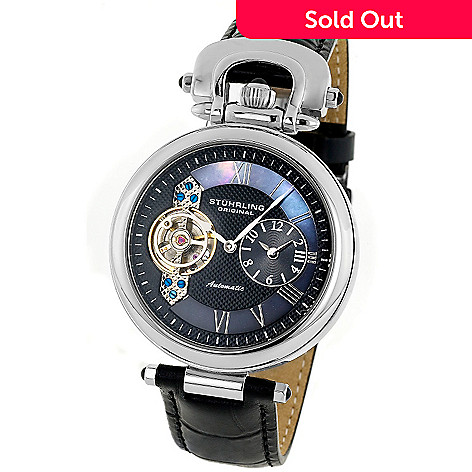 614-999 - Stührling Original Men's Emperor Automatic Dual Time Zone Leather Strap Watch