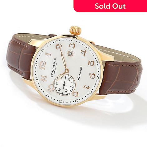 615-000 - Stührling Original Men's Automatic Leather Strap Watch