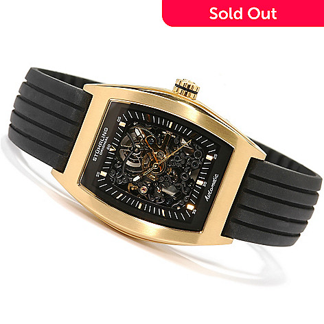615-008 - Stührling Original Men's Millennia Skeleton Auto Rubber Strap Watch