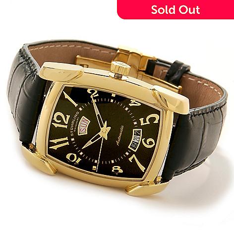615-040 - Stührling Original Men's Madison Avenue Date Leather Strap Watch