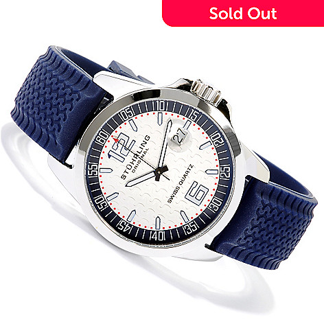 615-041 - Stührling Original Men's Monterey Sport Swiss Quartz Rubber Strap Watch