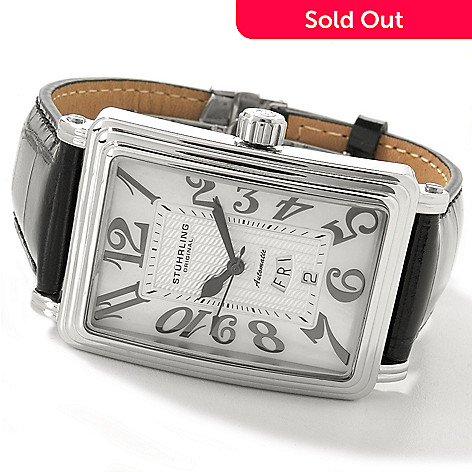 615-093 - Stührling Original Men's Uptown Chic Rectangle Leather Strap Watch