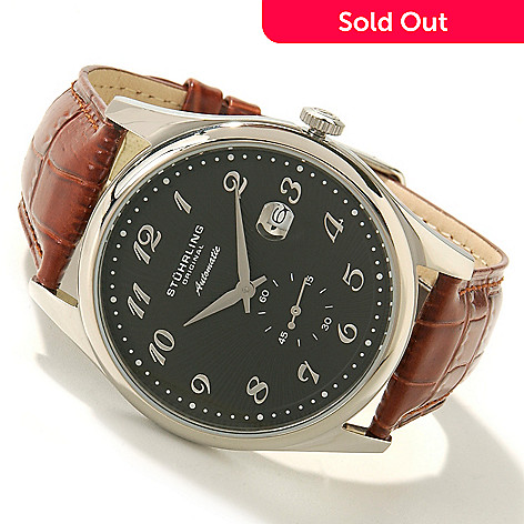 615-202 - Stührling Original Men's Cuvette 44 Automatic Leather Strap Watch