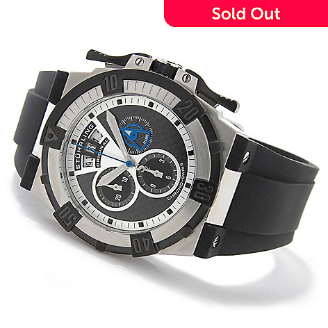 615-267 - Stührling Original Men's Falcon Swiss Quartz Chronograph Rubber Strap Watch