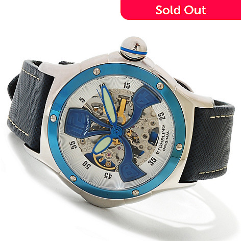 615-316 - Stührling Original Men's Alpine Automatic Skeleton Leather Strap Watch