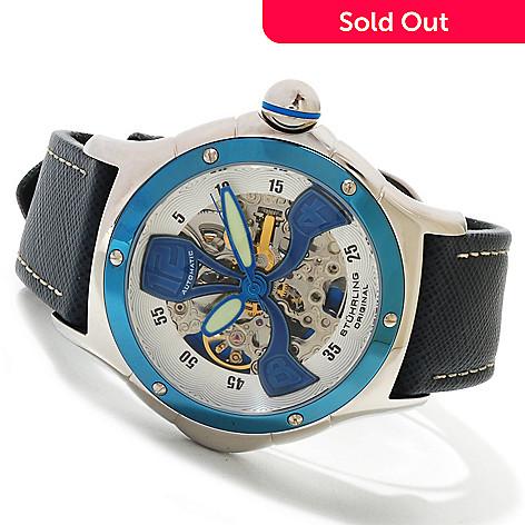 615-316 - Stührling Original Men's Alpine Automatic Skeleton Leather Strap Watch