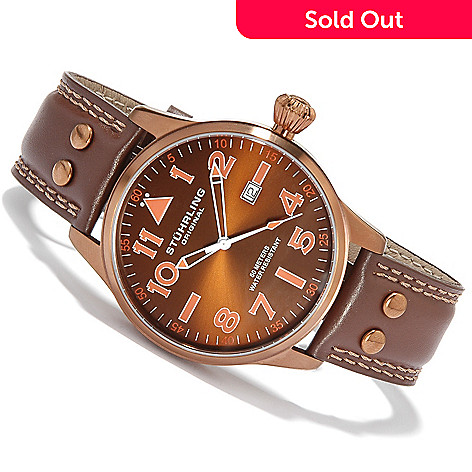 615-472 - Stührling Original Men's Eagle 2009 Edition Swiss Quartz Leather Strap Watch