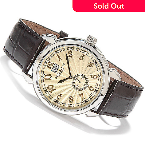 615-475 - Stührling Original Men's Eternal Sunrise II Big Date Leather Strap Watch