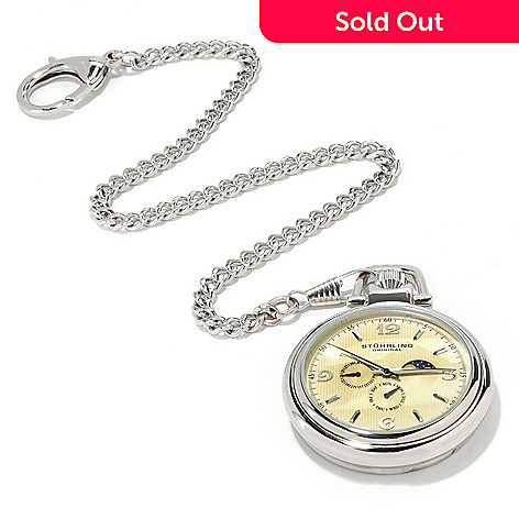 615-478 - Stührling Original Men's Monarch Moon Phase Stainless Steel Pocket Watch