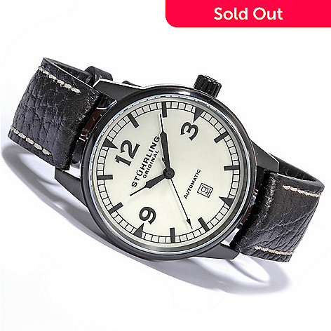 615-554 - Stührling Original Men's Tuskegee Flier Automatic Leather Strap Watch