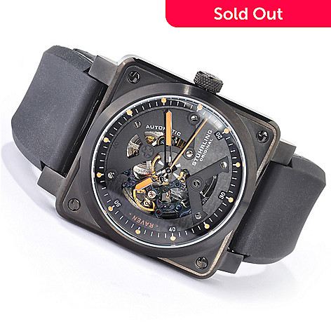 615-593 - Stührling Original Men's Raven Diablo Automatic Rubber Strap Watch
