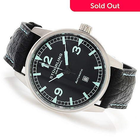 615-629 - Stührling Original Men's Tuskegee Flier Automatic Leather Strap Watch