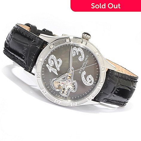 615-644 - Stührling Original Women's Audrey Diamond Butterfly Automatic Leather Strap Watch