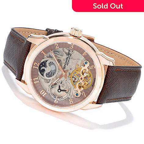 615-817 - Stührling Original Men's Tempest Double Barrel Automatic Leather Strap Watch