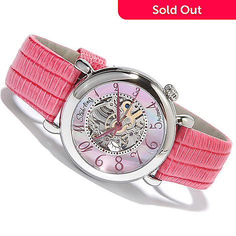 615-827 - Stührling Original Women's Lady Wall Street Skeleton Automatic Leather Strap Watch