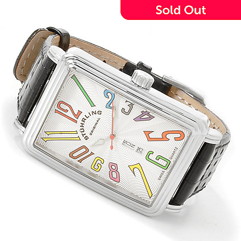 615-873 - Stührling Original Men's Uptown Ozzie Quartz Leather Strap Watch