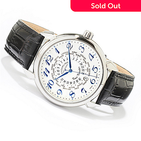 615-902 - Stührling Original Men's Time Traveler World Time Leather Strap Watch