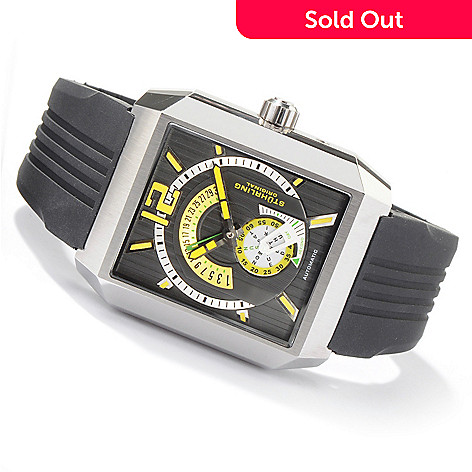 615-963 - Stührling Original Men's Metropolis Automatic Stainless Steel Rubber Strap Watch