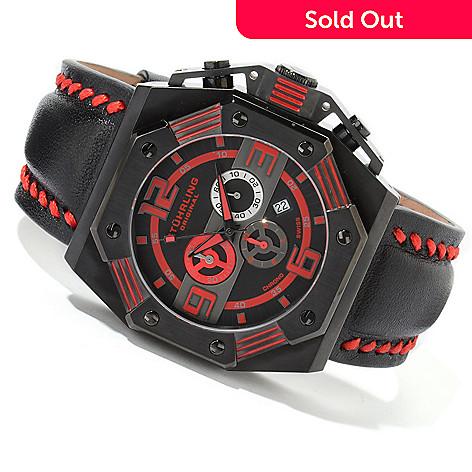 616-157 - Stührling Original Men's Arronax Quartz Chronograph Leather Strap Watch