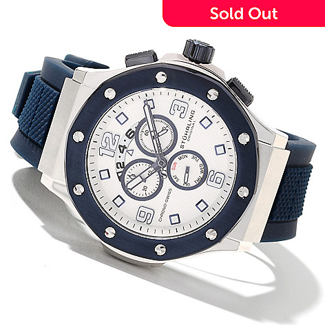 616-169 - Stührling Original Men's Apocalypse Grand Quartz Chronograph Rubber Strap Watch