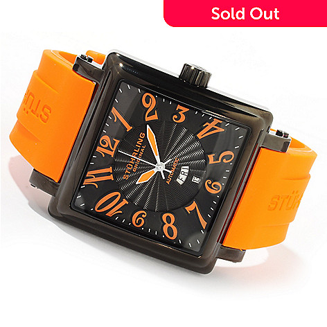 616-171 - Stührling Original Men's Manchester Ozzie XL Automatic Stainless Steel Rubber Strap Watch