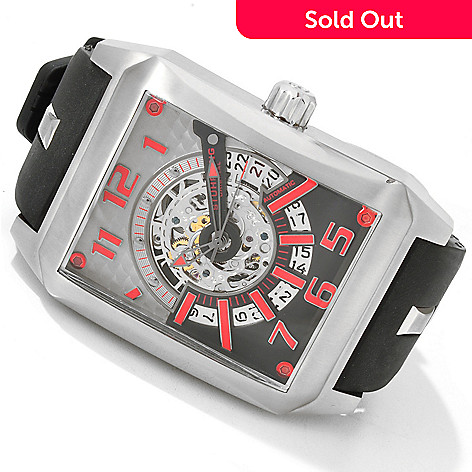 616-218 - Stührling Original Men's Madman Skelly Automatic Rubber Strap Watch