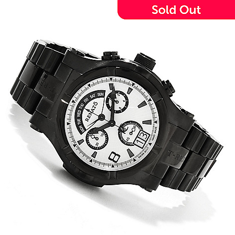 616-340 - Renato 49mm T-Rex Swiss Quartz Chronograph Retrograde Stainless Steel Bracelet Watch