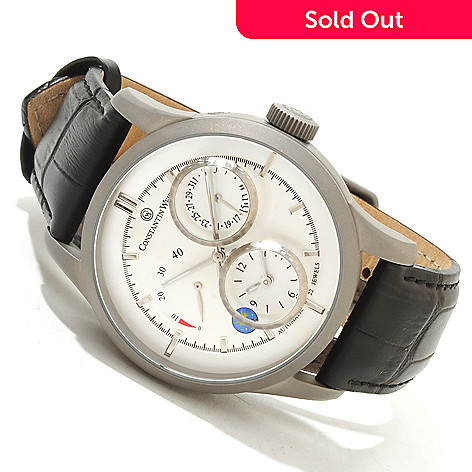616-344 - Constantin Weisz Men's Automatic Stainless Steel Leather Strap Watch