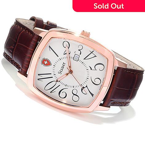 616-674 - Stauer Men's Lucerne Swiss Made Quartz Stainless Steel Leather Strap Watch