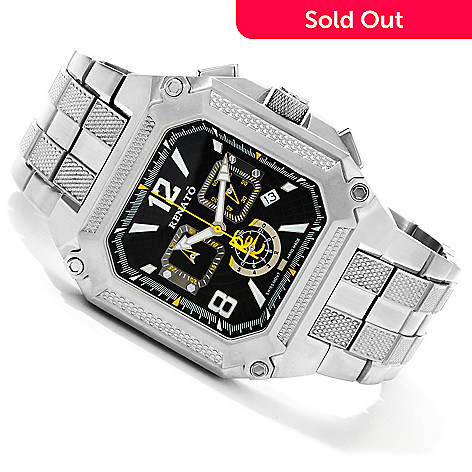 616-679 - Renato Men's Square Cougar Quartz Chronograph Stainless Steel Bracelet Watch