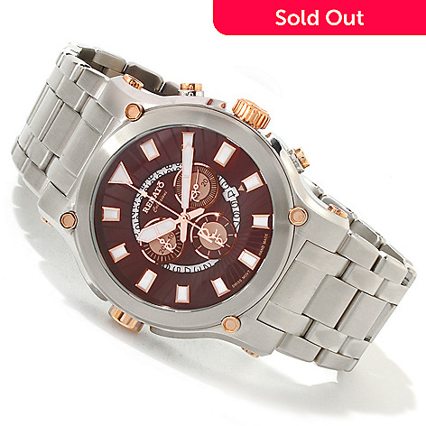 616-687 - Renato 50mm Calibre Robusta Swiss Quartz Chronograph Stainless Steel Bracelet Watch