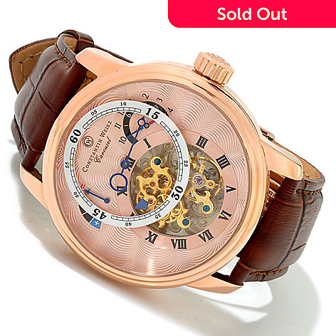 616-714 - Constantin Weisz Men's Carousel Limited Edition Automatic Leather Strap Watch w/ Six-Slot Watch Box