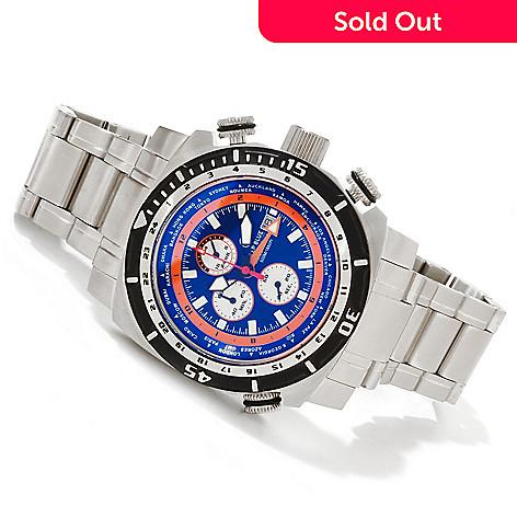 616-724 - Deep Blue Men's World Timer Quartz Chronograph GMT Stainless Steel Bracelet Watch