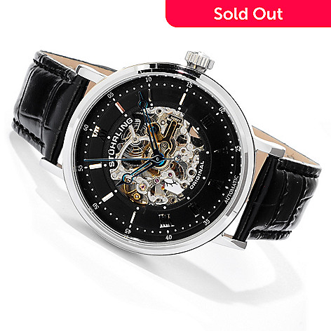616-729 - Stührling Original Men's Lexington Automatic Stainless Steel Case Leather Strap Watch