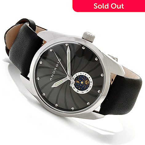 616-747 - Android Men's Impetus Quartz Sun & Moon Dial Stainless Steel Leather Strap Watch