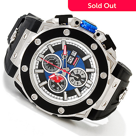 616-764 - GV2 by Gevril 56mm Corsaro Swiss Automatic Chronograph Rubber Strap Watch