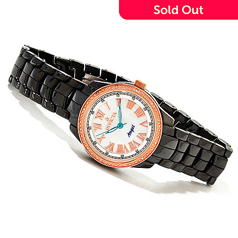 616-783 - Invicta Ceramics Women's Angel Classique Quartz Diamond Accented Rose-tone Bezel Bracelet Watch