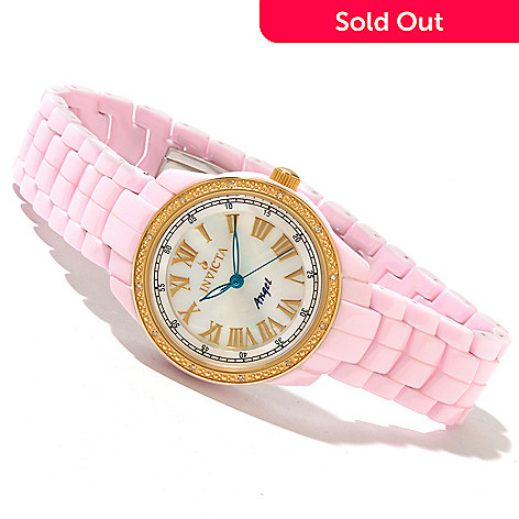 616-784 - Invicta Ceramics Women's Angel Classique  Quartz Diamond Accented Gold-tone Bezel Bracelet Watch
