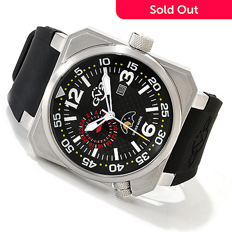 616-811 - GV2 by Gevril Men's XO Submarine Swiss Made Quartz Limited Edition Rubber Strap Watch